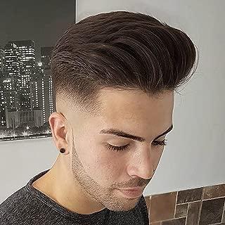 "SinoArt Men's Hairpiece Human Hair Toupee Wig Super Thin Skin Hair Replacement Base Size 8""x10"" #4 Dark Brown"