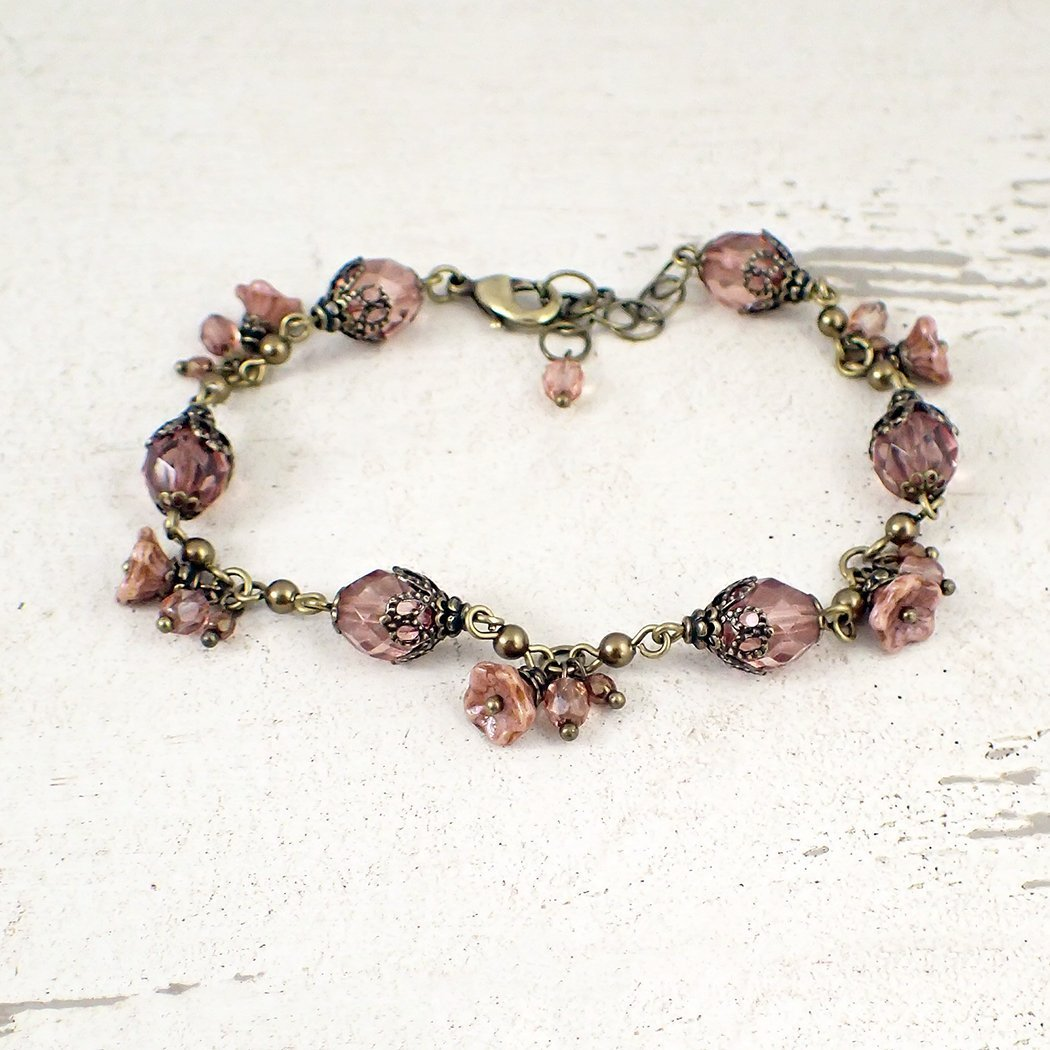 Cheap mail order shopping Dusty Rose Pink Vintage Style Ranking TOP11 Bracelet Flower Dangle Adjustable