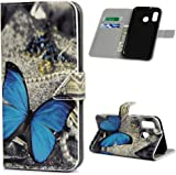 F�r Samsung Galaxy A40 H�lle Lader Tasche PU Lader H�lle Gemalt Muster Flip Brieftasche Kartenhalter Magnetschnalle St�nder Sto�fest Kratzfest Sto�stange Handyh�lle Schmetterling