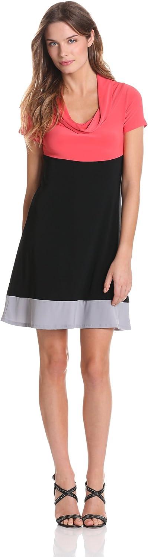 Star Vixen Women's Short Sleeve Cowl Colorblock Dress