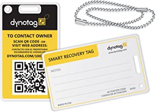 Dynotag Web Enabled Smart Fashion Luggage ID Tags, with DynoIQ & Lifetime Recovery Service. 2 Identical Tags+Chains (Bumbl...