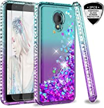 Alcatel TCL LX Case (A502DL), Alcatel 1X Evolve Case with Tempered Glass Screen Protector [2 Pack] for Girls Women, LeYi Glitter Bling Liquid Phone Case for Alcatel IdealXtra (5059R) ZX Teal/Purple