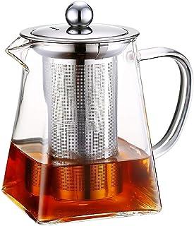Szklane dzbanki do herbaty ze zdejmowanym zaparzaczem, wysoki dzbanek ze szkła borokrzemowego z płytką do rozpuszczania w ...