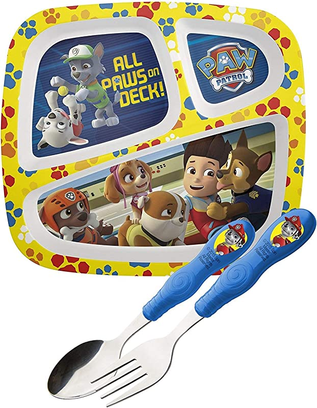 Paw Patrol Divided Plate Flatware Set