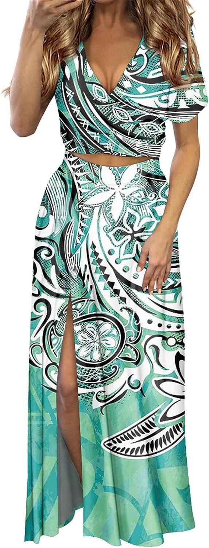 Wilerng.k Women Samoan Hawaiian Polynesian Tribal Burnt Siena Print Suit Summer Thin High Spilt Dress Sets