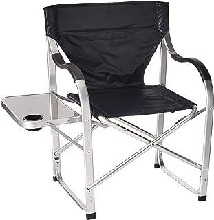 Elegante silla de camping SL1214 negra plegable con mesa lat