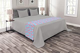 Ambesonne Vibrant Bed Runner, Repetitive Cartoon Flying Piglets Wings Pattern, Decorative Accent Bedding Scarf for Hotels Homes and Guestrooms, Pale Pink Pale Blue