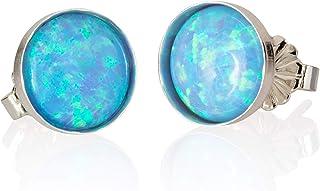 Orecchini in argento sterling 925 blu chiaro opale 8mm fatti a mano