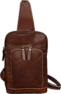 ABYS Genuine Brown Leather Men Body Bag || Chest Bag ||Neck Pouch for Unisex