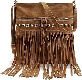 LUI SUI Women Faux Suede Leather Hobo Fringe Cross Body Shoulder Bag Tassel Messenger Handbag