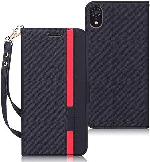 FYY スマホケース iPhone XR ケース iPhone XR 手帳 [改善版] 手帳型 カード収納 スタンド機能 ストラップ付き ハンドメイド PUレザー 軽量 薄型 耐衝撃 iPhone XR 6.1インチ対応 (ブラック)