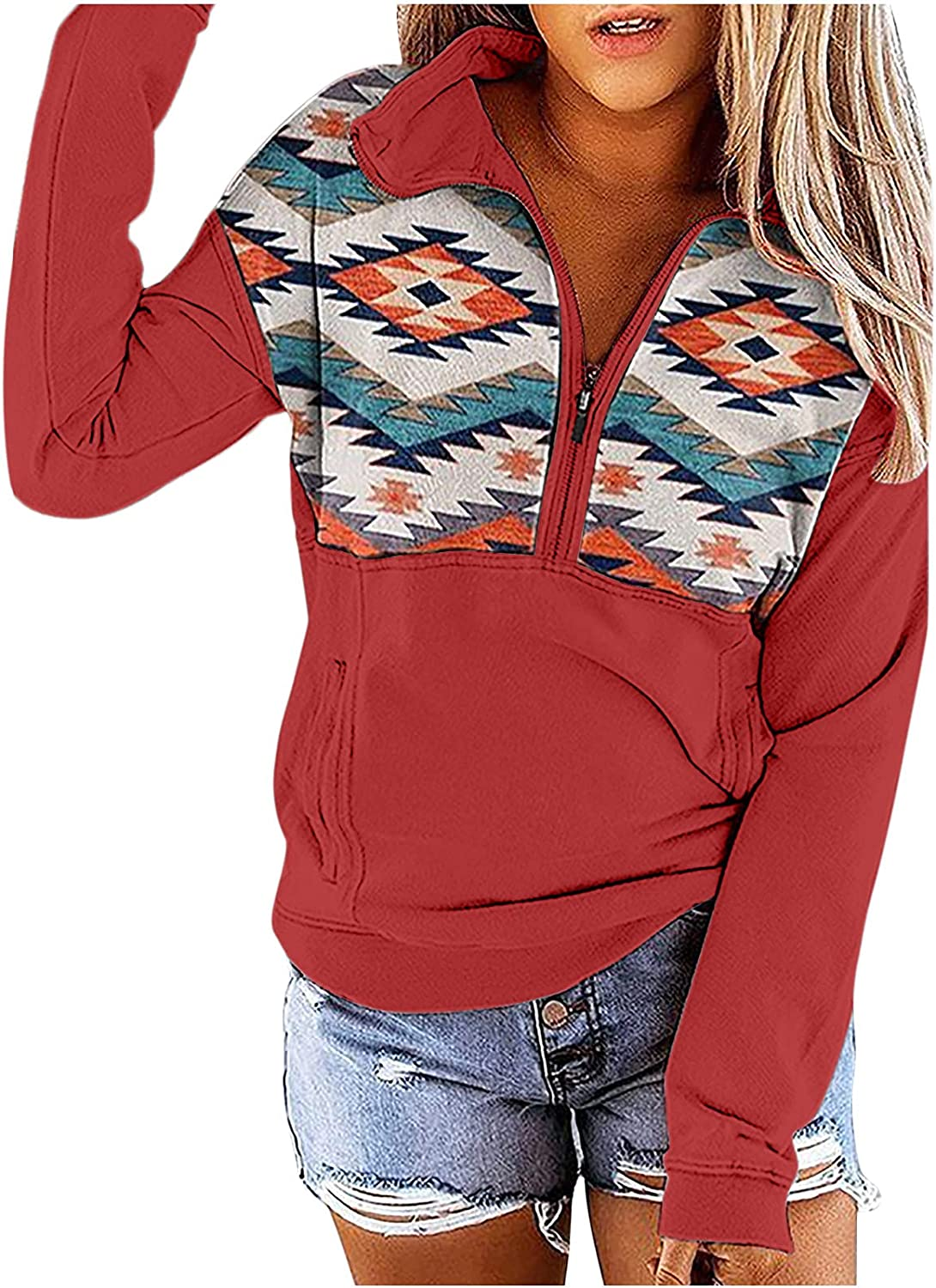 Bravetoshop Sweatshirts for Women Casual Lightweight Lapel Zipper Long Sleeve Pullover Tops with Pockets