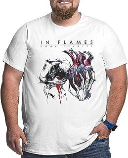 De Li Sheng UiikIIDl Sportbekleidung Herren Kurzarmshirt in Flames Come Clarity Mens Big Size Soft Cotton Crewneck Short Sleeve Tshirt White