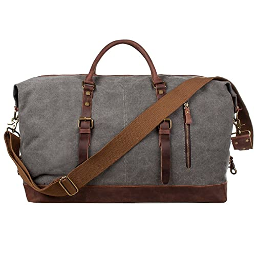 1b35125db0f8 S-ZONE Mens Canvas Leather Holdall Travel Duffle Overnight Weekend Satchel  Totes Bag Handbags (