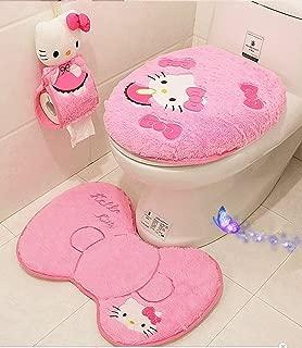 Ikeelife Cute Hello Kitty Bathroom Pedestal Mat Cotton Non Slip Bath Mat Toilet Contour Rug, Closestool Lid Cover,Seat Cushion,Tissue Box 4PCS Set Pink Se4