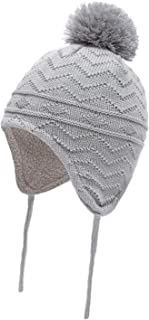Baby Beanies Hats Knit, Infant Toddler Girls Boys with Earflaps Warm Fleece Lined Winter Cap