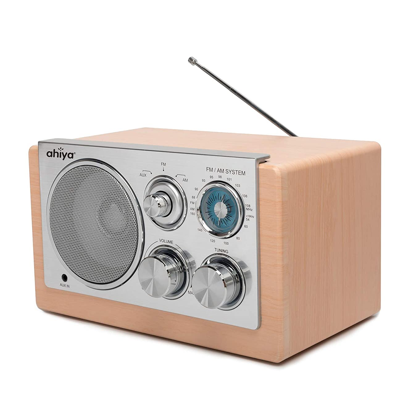 ahiya Wireless Radio Personal AM FM Sound Good Reception Retro Classic Portable Aux Input Speaker Good Selectivity Metal Antenna Best Gift for Father Mother Grandpa Grandma Wood Color