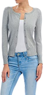 YourStyle Basic Solid Button Up Crew Neck Cardigan Sweater S-3XL