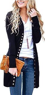Viracy Women's Long Sleeve Casual Snap Button Knit Long Cardigan Sweaters
