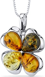 Baltic Amber Clover Pendant Necklace Sterling Silver Honey Olive and Cognac Colors