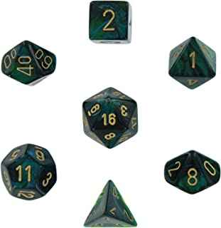 Chessex Dice Polyhedral 7-Die Scarab Set - Jade with Gold Chx-27415
