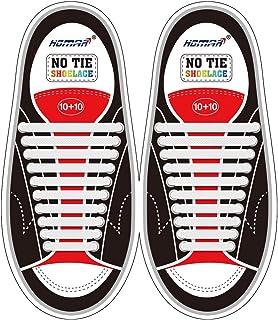 HOMAR No Tie Lacci per scarpe per bambini e adulti - Impermeabile in silicone elastico piatto Laces Athletic scarpa da cor...