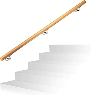 Relaxdays Wooden Handrail, Beech, 1500 mm/150 cm/1.5 m, Wall-Mount, with Plugs, Rustic 42 mm Diameter, Natural Banister