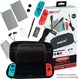 Bundle for Nintendo Switch - Starter Kit Accessories - Case with Screen Glass Protector, Cover, Silicon Grips, Stylus and More
