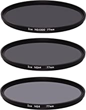 ICE 77mm Slim ND Filter Set ND1000 ND64 ND8 Neutral Density 77 10, 6, 3 Stop Optical Glass