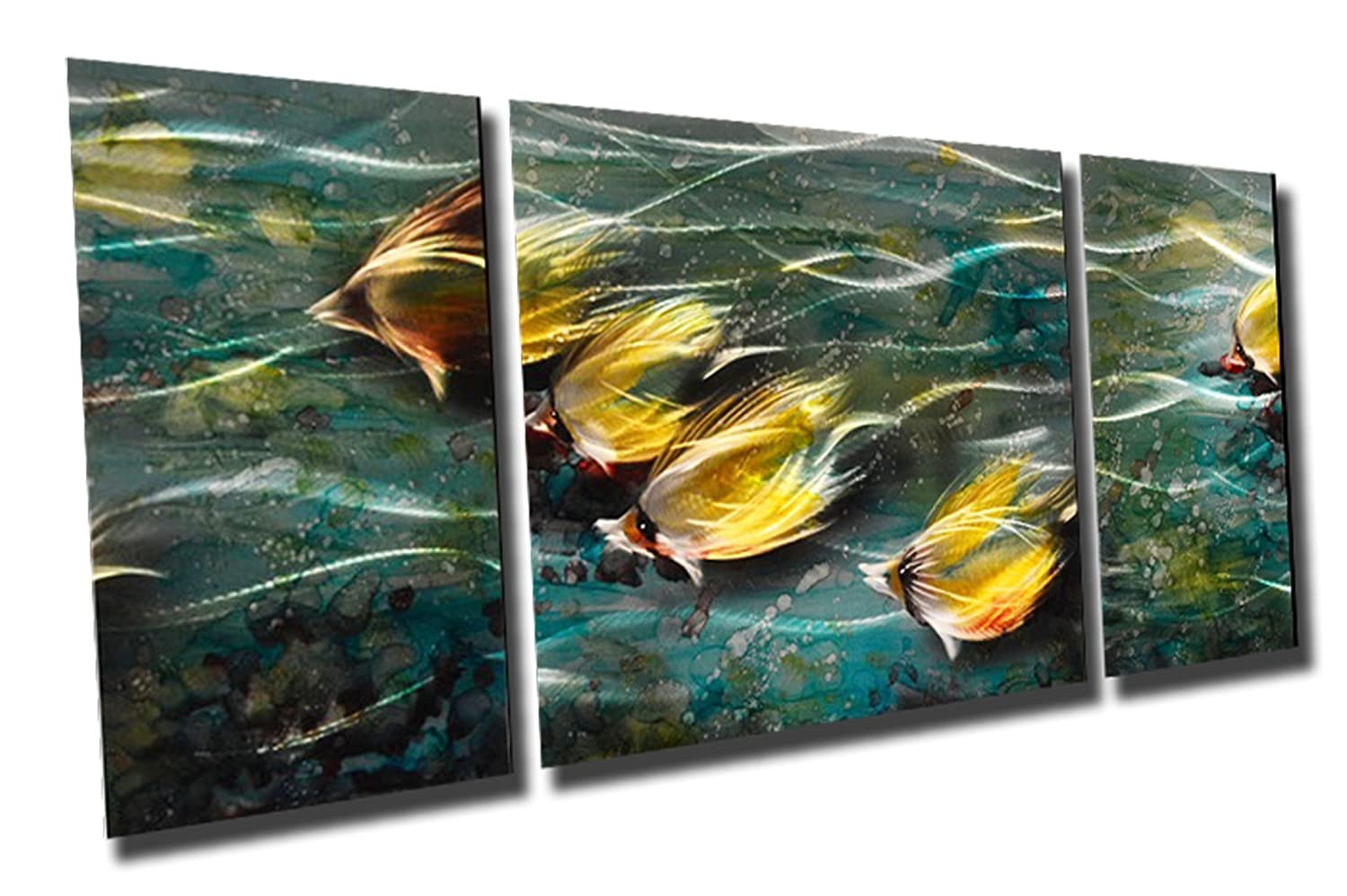 Tropical Yellow Fish Metal Wall Art 50X24 Abstract Modern Contemporary Home Wall  Decor Painting-Decorative Modern Set of 3 Panels-CHB6012032 : Amazon.in:  Home & Kitchen