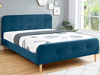 HOMIFAB Lit Adulte scandinave 140X190 en Velours Bleu Paon avec tête de lit capitonnée et sommier à Lattes Inclus - Collec...