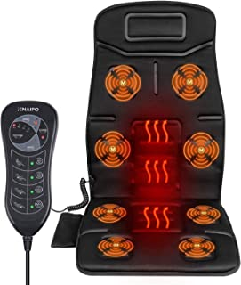 Naipo Massage du Dos Siège de Massage Coussin Massant pour Entier Dos et Cou avec 8 Nœuds de Vibration 4 Modes de Massage ...