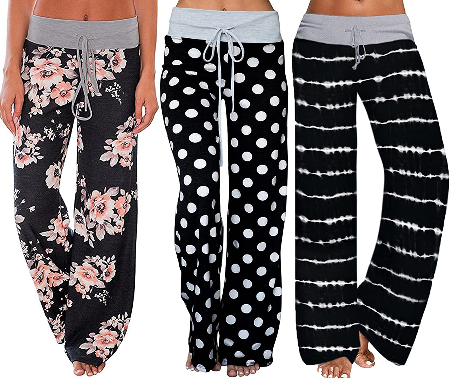 specialty shop iniber 3 Pack Women's Comfy Casual Floral Baltimore Mall Pants Pajama Dra Print
