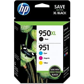 HP 950XL/951 Black High Yield, Cyan/Magenta/Yellow Standard Yield Ink Cartridges, 4 Pack (C2P01FN)