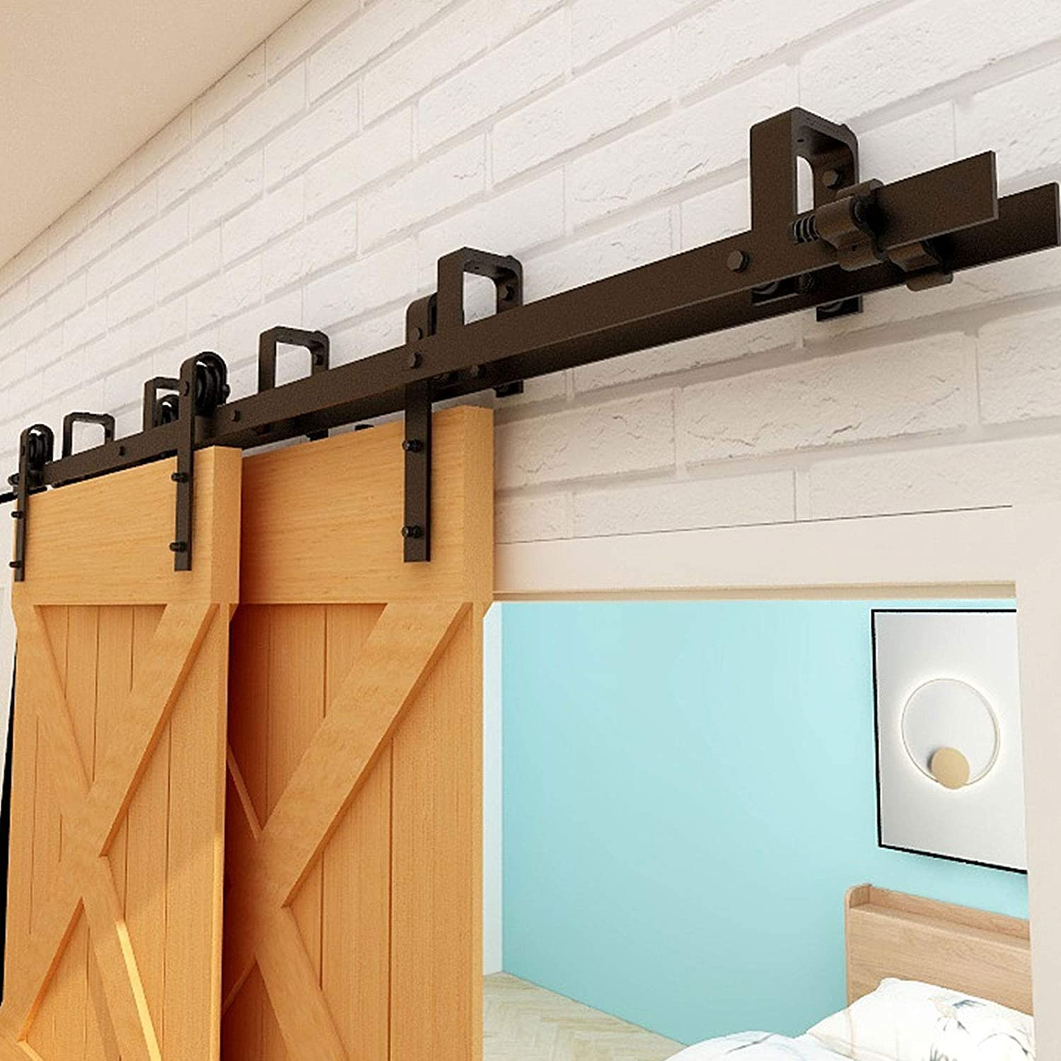 CCJH 10.5FT Bypass Sliding Barn Door L Kit Hardware Track Direct sale of manufacturer Double Max 56% OFF