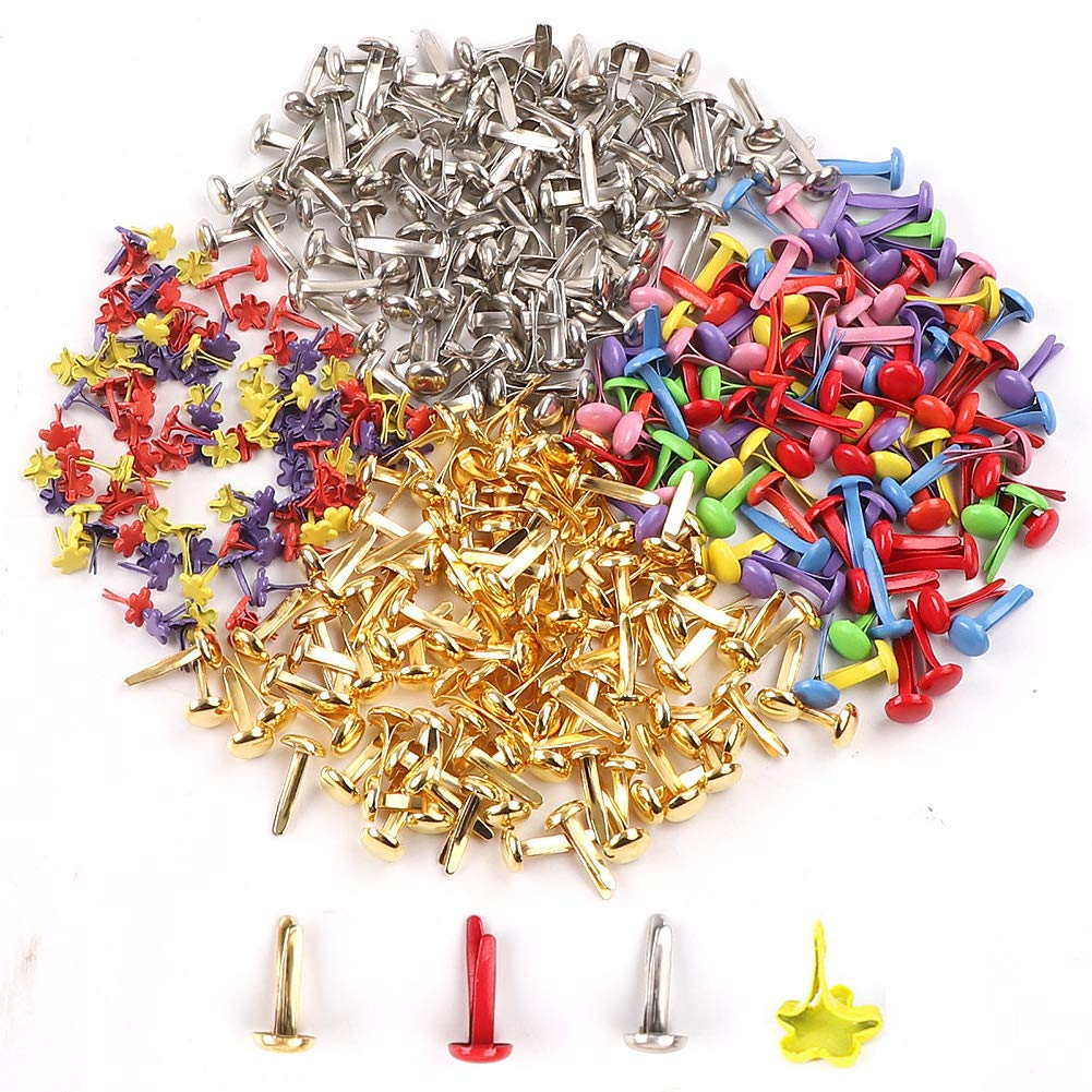 50Pieces Colorful Mini Brads Paper Craft Fasteners DIY Crafts Painting Decor