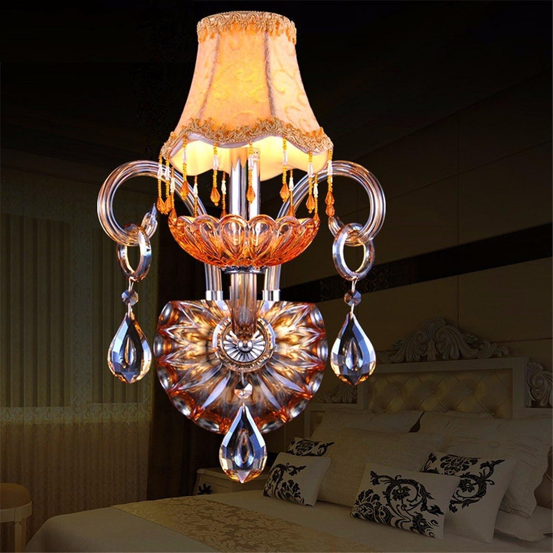 JJZHG Wandleuchte Wasserdicht Wandbeleuchtung Kristallwandlampe Schlafzimmer Nachttischlampe Wohnzimmer einzelne Doppelwandlampe Treppe Gang Kerzenwand,Einzelkopf + LED-Lichtquelle
