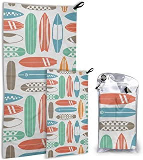 STREET FFX Retro Colors Surfboard Colorful Surfing Sea Fast Drying Microfiber Travel Towel 2 Pack 55x27.5,31.5x15.8 Soft for Camping Gym Beach Swimming Mountaineering Backpacking