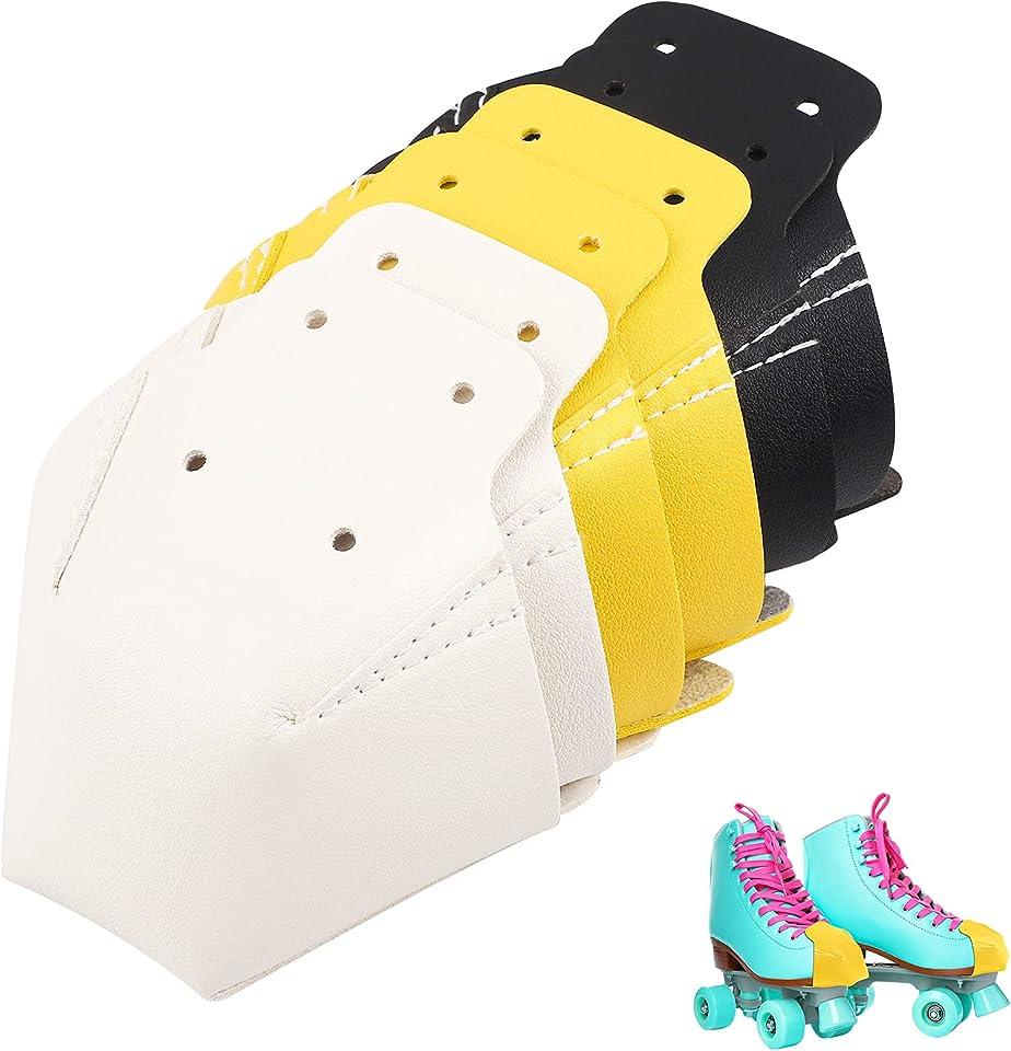 Ruisita 6 Pieces Toe Cap Guards Protectors Leather Roller Skate Cap Protectors Toe Caps Artificial Leather Roller Skate Cap Protectors for Quad Roller Skate