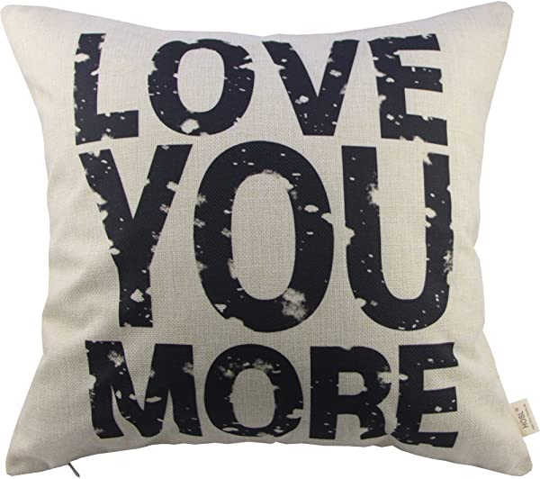 Love You More Square About Cotton Throw Pillow Cushion Cover 17 5 X 17 5