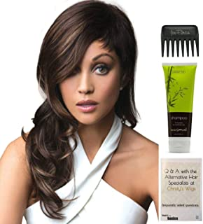 Bundle - 4 items: Bennett Wig by Rene of Paris, Christy's Wigs Q & A Booklet, BeautiMark Synthetic Shampoo & Wide Tooth Comb - Color: MARBLE BROWN-LR