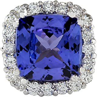 5.35 Carat Natural Blue Tanzanite and Diamond (F-G Color, VS1-VS2 Clarity) 14K White Gold Luxury Cocktail Ring for Women Exclusively Handcrafted in USA