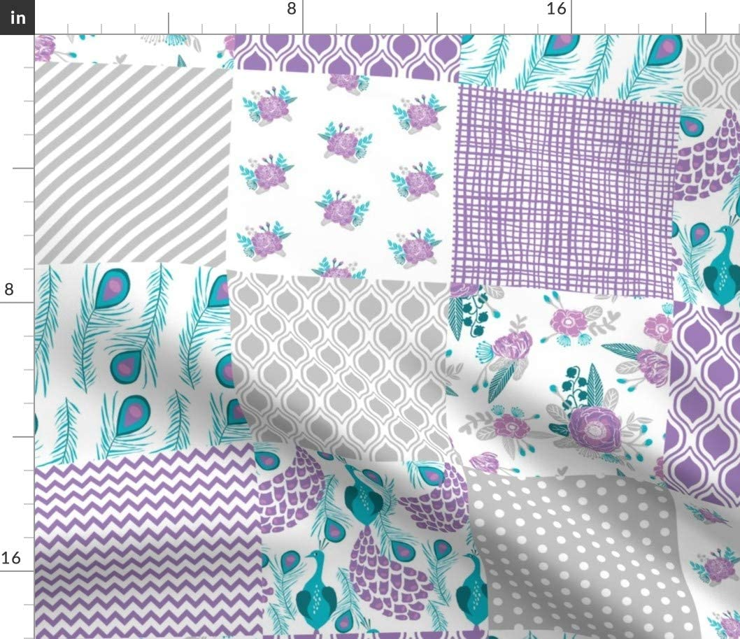 Spoonflower 完売 Fabric - Cheater Quilt Paste Turquoise Grey Lavender 優先配送