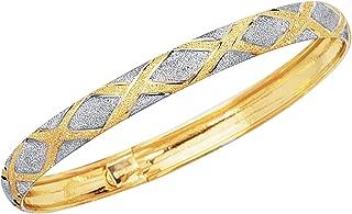 10k Gold Tubular Engraved X Flex Bangle Bracelet 7 or 8 Inches