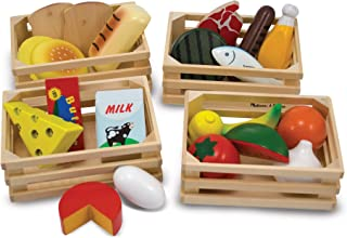 Melissa & Doug Food Groups - Wooden Play Food, The Original (Pretend Play, 21 Hand-Painted Wooden Pieces and 4 Crates, Gre...