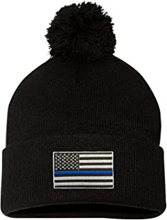 Adult Thin Blue Line USA Flag Embroidered Knit Beanie Pom Cap