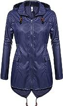 Meaneor Women's Waterproof Raincoat Outdoor Hooded Rain Jacket Windbreaker