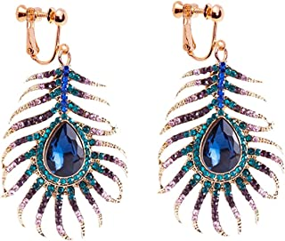 Dangle Clip on Earring Screw on backs Girls Crystal Hook Sparkling Rhinestone CZ Peacock Feather Blue
