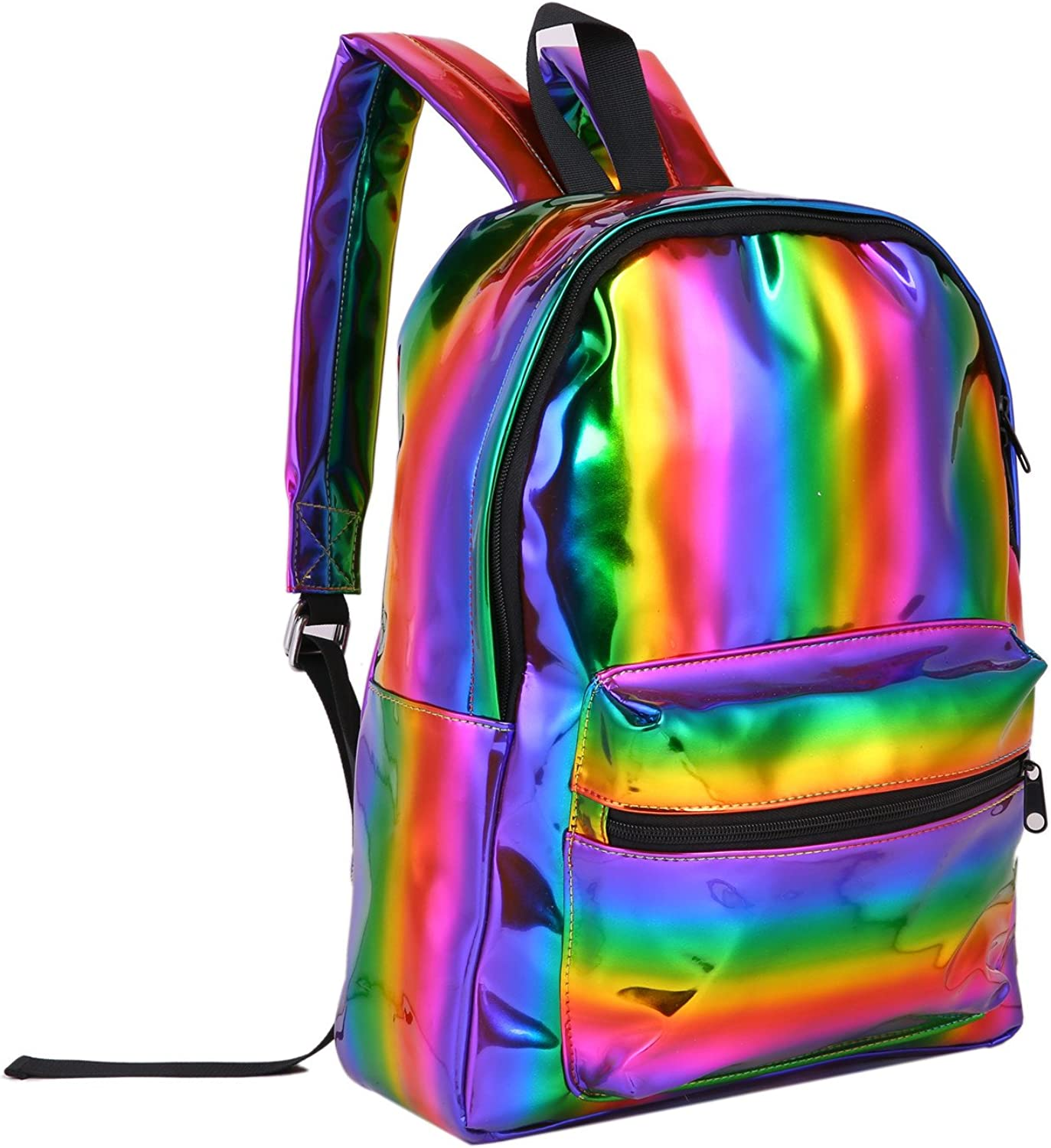 Mogor Girl's Holographic PU Leather School Backpack Travel Casual Daypack for Women