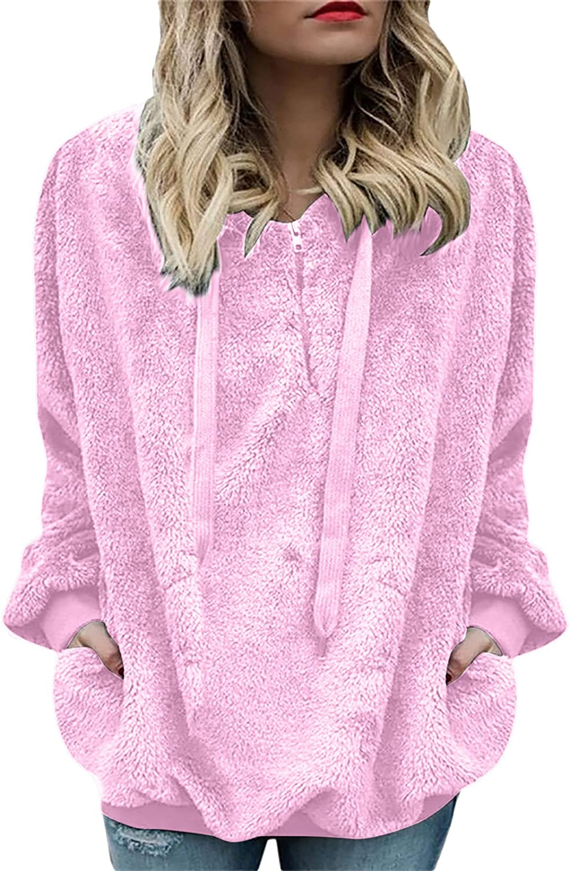 Cbcbtwo Women Fuzzy Fleece Jacket Zip Up Sweatshirt Oversized Casual Lightweight Active Pullover Hoodie with Pockets